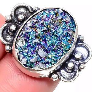Jewelry - Titanium Druzy Gemstone 💎 925 Silver